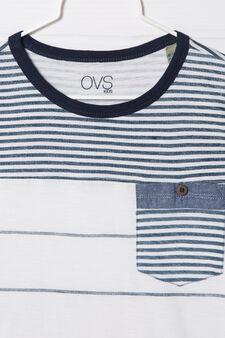 100% cotton striped T-shirt, White, hi-res