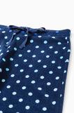 Polka dot fleece pyjama trousers, Navy Blue, hi-res