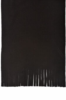 Fleece scarf with fringe, Black, hi-res
