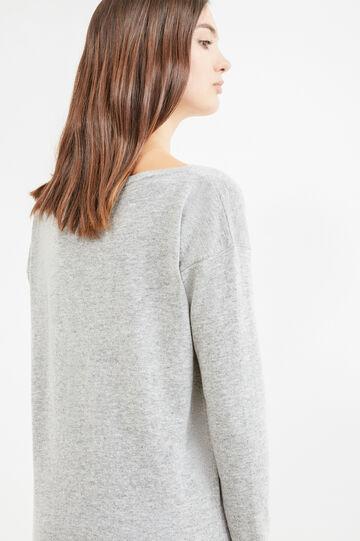 Wool blend, sequinned pullover, Grey, hi-res