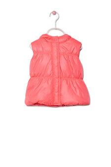 Down waistcoat with hood, Fuchsia, hi-res