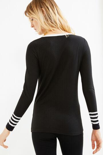 Stretch ribbed T-shirt, Black, hi-res