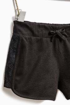 Shorts in 100% cotton with lace, Black, hi-res