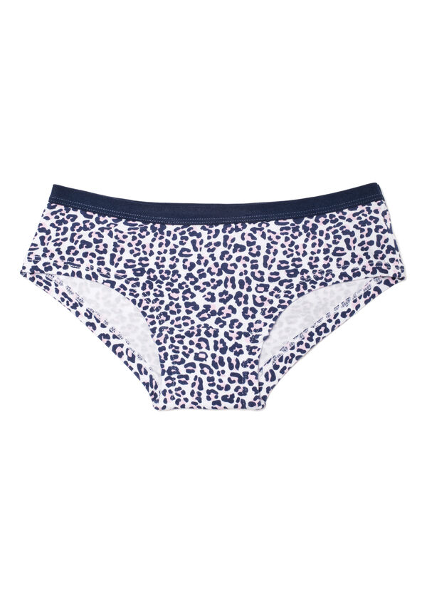 Stretch cotton hipsters with animal print | OVS