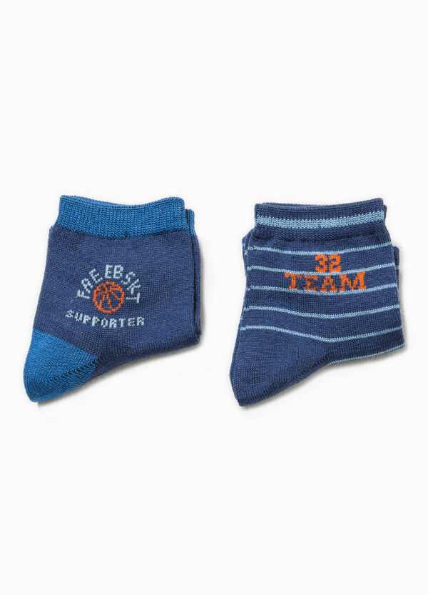 Two-pair pack embroidered and striped socks | OVS