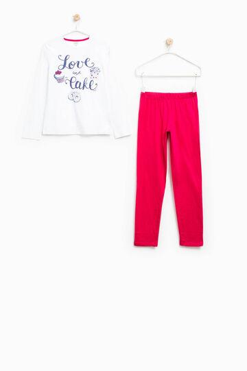 Sudadera de algodón con motivo de texto, Blanco/Rojo, hi-res