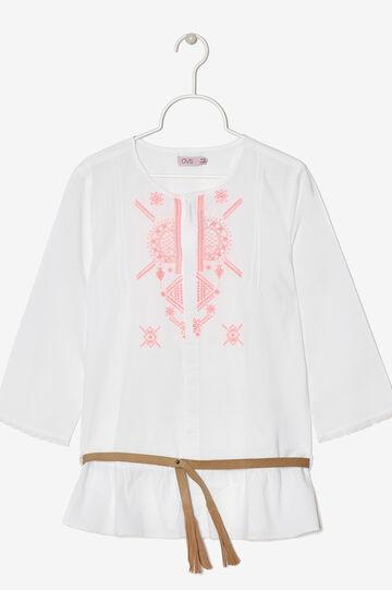 T-shirt lunga con cinturino, Bianco, hi-res