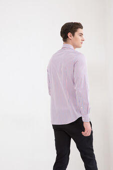 Slim fit check shirt in 100% cotton, Blue/Red, hi-res
