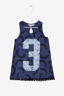 Maglietta smanicata fantasia, Blu navy, hi-res