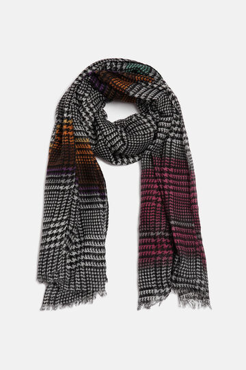 Houndstooth scarf, Black/Red, hi-res