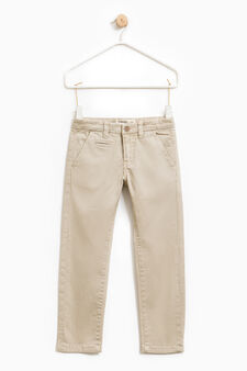 Solid colour stretch chino trousers, Brown, hi-res