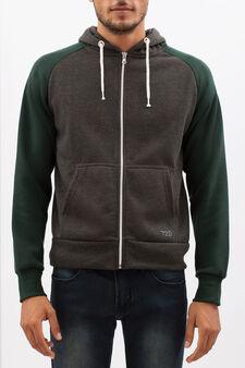 Hoodie with contrasting sleeves, Grey/Green, hi-res
