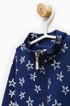 Patterned sweatshirt with high neck in 100% cotton, Navy Blue, hi-res