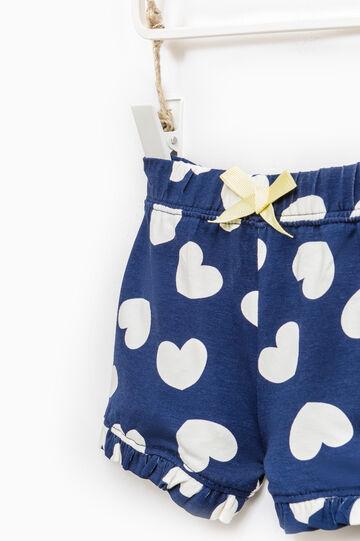 Shorts in cotone fantasia a cuori, Bianco/Blu, hi-res