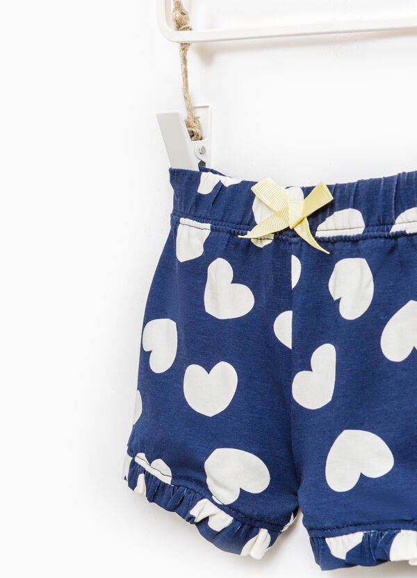Heart pattern shorts in 100% cotton | OVS