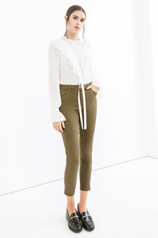 Solid colour stretch cotton trousers, Moss Green, hi-res