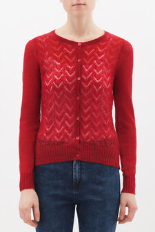 Wool blend embroidered cardigan, Light Red, hi-res
