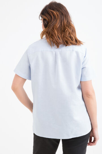 Curvy cotton-linen blend blouse, Light Blue, hi-res