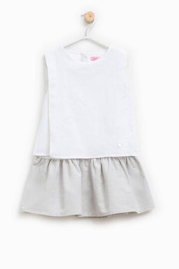 Sleeveless dress in linen blend, White/Grey, hi-res