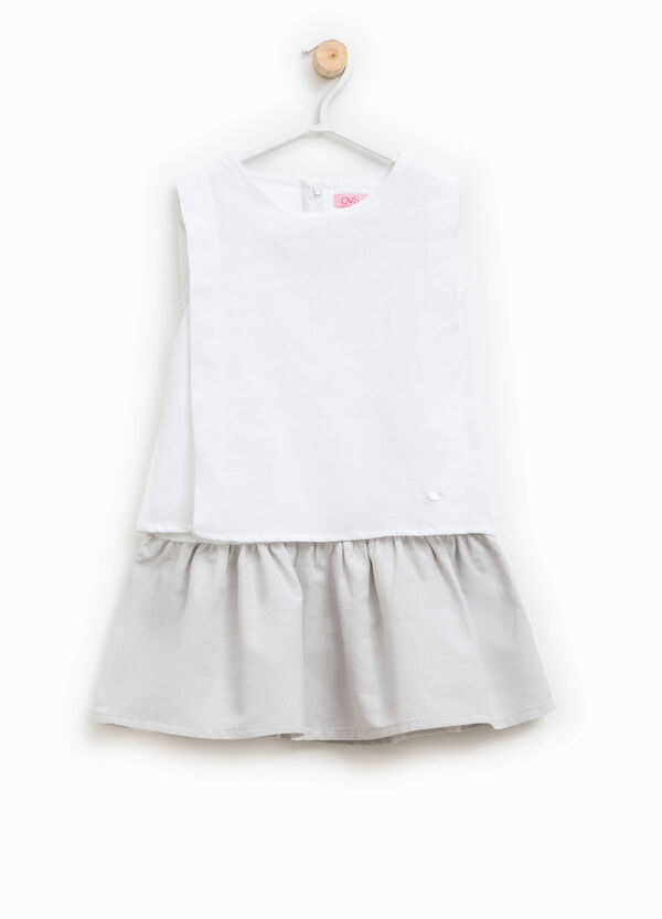 Sleeveless dress in linen blend | OVS