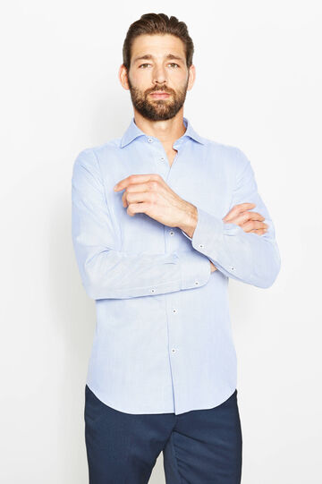 Slim-fit patterned formal shirt, White/Blue, hi-res