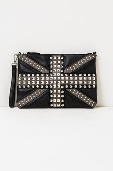 Clutch bag with studs and strap, Black, hi-res