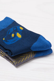 Two-pair pack of printed socks, Grey/Blue, hi-res