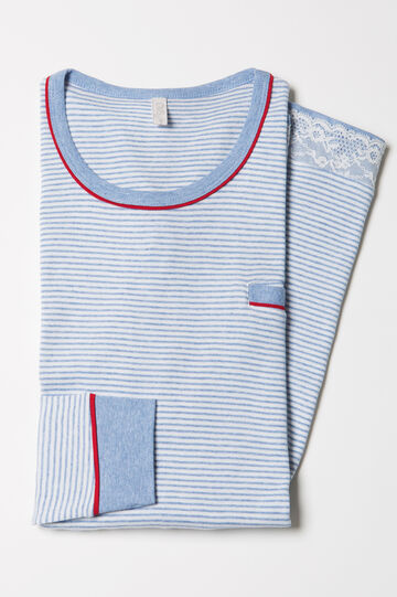 100% cotton striped nightshirt, White/Light Blue, hi-res