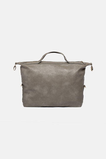 Eco-leather bag with zip, Light Grey, hi-res