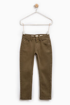 Solid colour stretch chinos, Moss Green, hi-res
