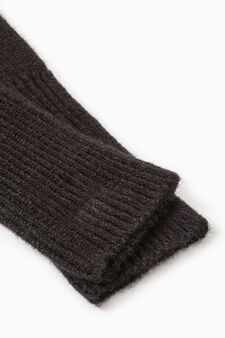 Long solid colour gloves, Black, hi-res