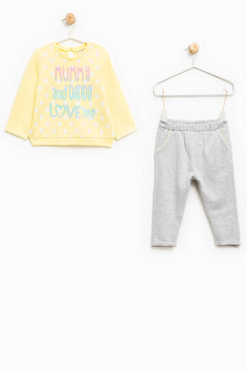 Printed outfit in 100% cotton, Light Yellow, hi-res