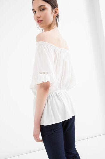 Solid colour 100% viscose blouse., Milky White, hi-res