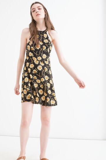 100% viscose short dress with print, Black, hi-res