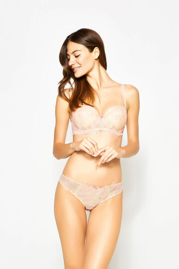 Stretch lace briefs with embroidery