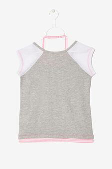 T-shirt con applicazioni, Grigio/Rosa, hi-res