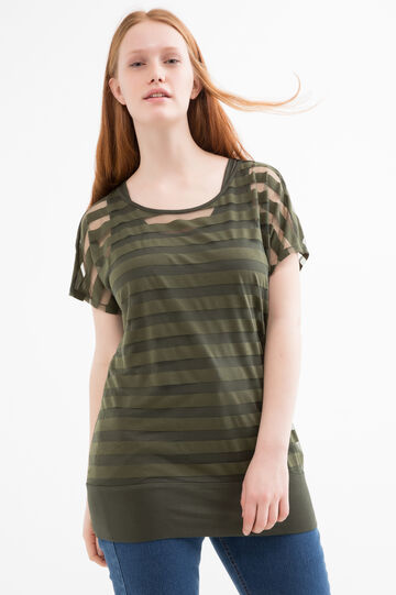 Curvy faux layered T-shirt with stripes, Army Green, hi-res