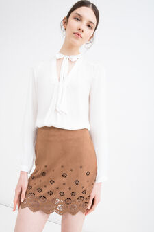 Short stretch suede skirt, Cognac Brown, hi-res
