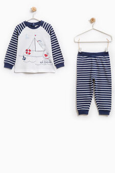 Striped patterned pyjamas in 100% cotton, White/Blue, hi-res