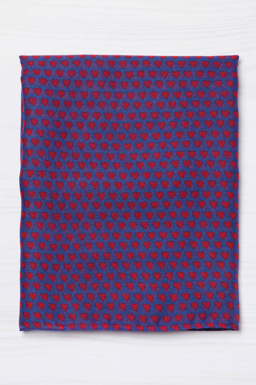 Heart patterned scarf, Blue/Red, hi-res