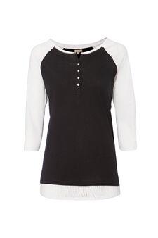 Smart Basic T-shirt in 100% cotton, Black/White, hi-res
