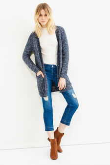 Long cardigan without buttons, White/Blue, hi-res