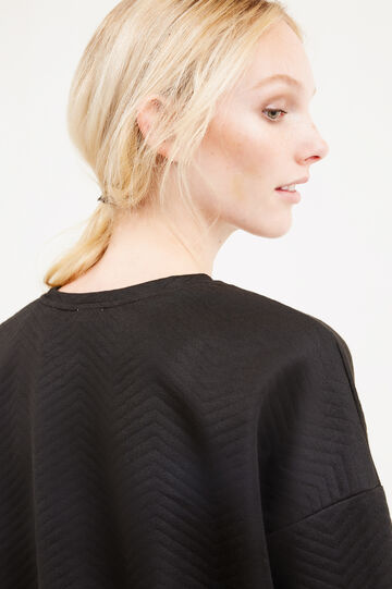 Viscose blend sweatshirt with embroidery and glitter, Black, hi-res