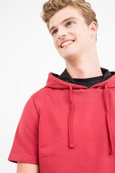 Cotton blend printed sweatshirt, Red, hi-res