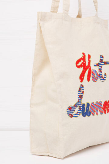 Shopping bag cotone stampa lettering, Rosso, hi-res