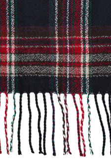 Tartan scarf with fringe, Blue/Red, hi-res