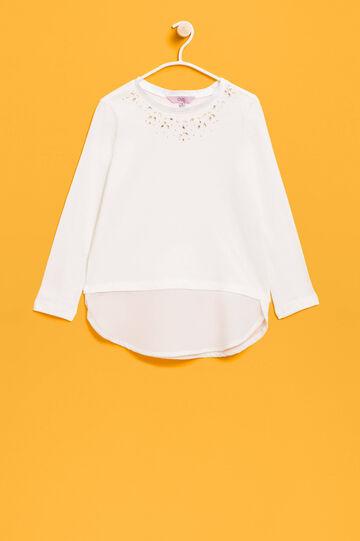 Diamanté T-shirt in 100% cotton, Cream White, hi-res