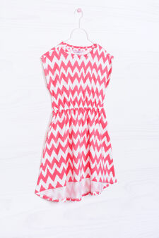 Patterned dress in 100% cotton, White/Red, hi-res