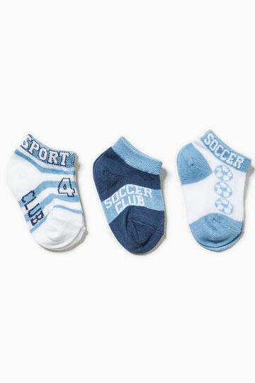 Three-pair pack embroidered and striped socks, White/Light Blue, hi-res