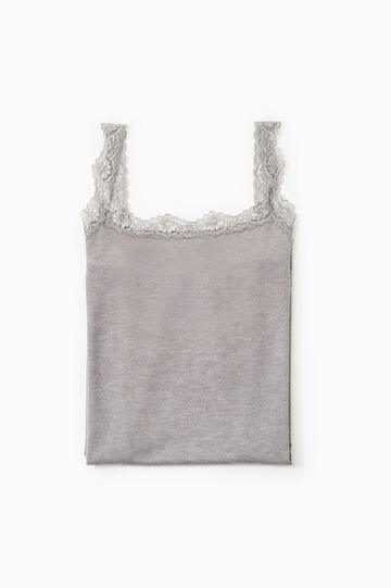 Stretch undervest with lace, Grey, hi-res